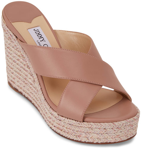 Jimmy Choo Dovina Ballet Pink Criss Cross Woven Wedge, 100mm