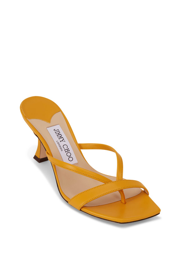 Jimmy Choo Maelie Yellow Sun Leather Strappy Sandal, 70mm