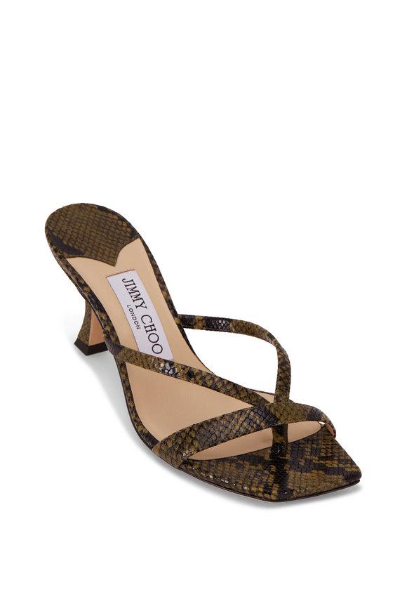 Jimmy Choo Maelie Dark Olive Snake Print Leather Sandal, 70mm