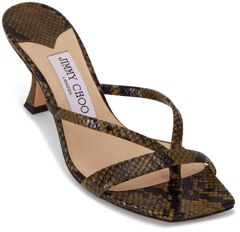 Jimmy Choo Maelie Dark Olive Snake Print Leather Sandal, 70mm