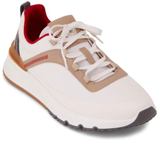 Brunello Cucinelli White Nylon & Leather Tech Trainer