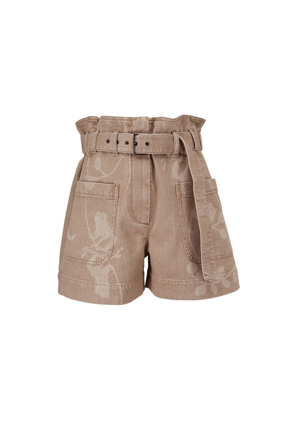 Brunello Cucinelli Beige Denim Leaf Print Belted Shorts