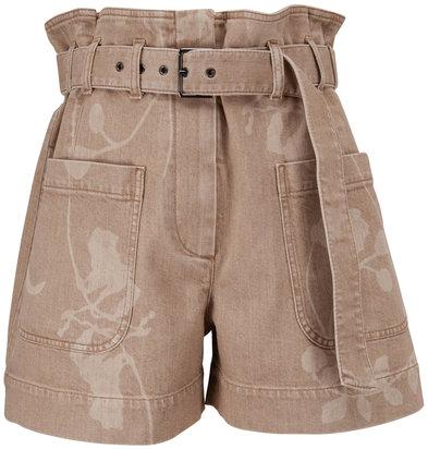 Brunello Cucinelli Beige Denim Leaf Print Belted Shorts