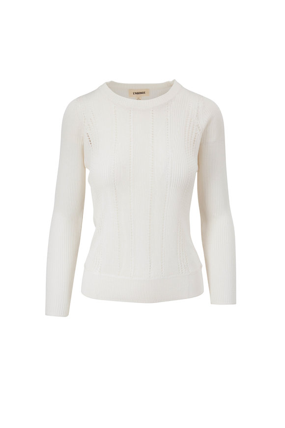 L'Agence Whitley Ivory Crewneck Sweater