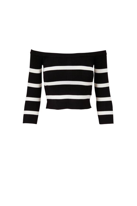 L'Agence Conner Black & Ivory Stripe Off-The-Shoulder Top