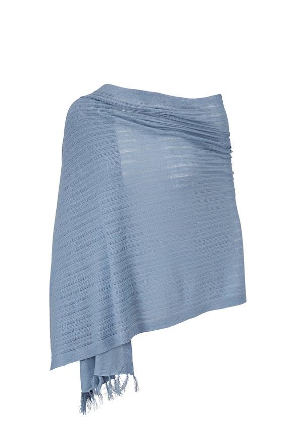 Kinross Stormy Linen Shadow Stripe Wrap