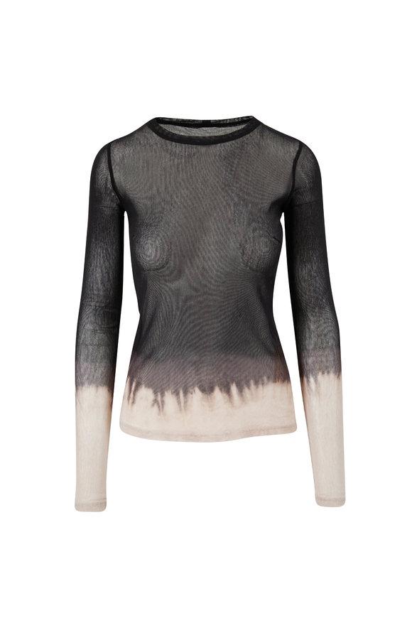 Raquel Allegra Black Horizon Jersey Long Sleeve Mesh T-Shirt