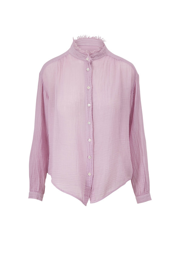 Raquel Allegra Lavender Gauze Jersey Medley Shirred Blouse