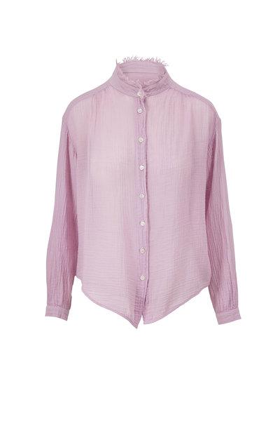 Raquel Allegra - Lavender Gauze Jersey Medley Shirred Blouse