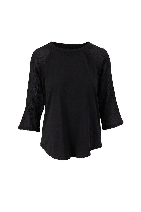 Raquel Allegra Black Gauze Jersey T-Shirt