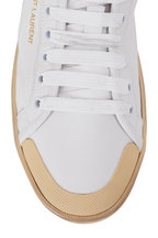 Saint Laurent - Greenwich Blanc & Cream Leather Mid-Top Sneaker