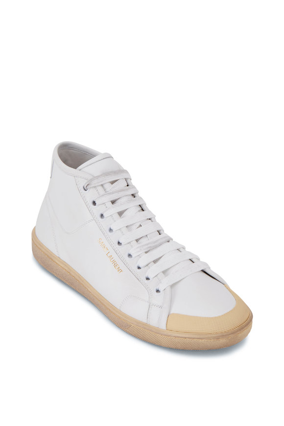 Saint Laurent Greenwich Blanc & Cream Leather Mid-Top Sneaker