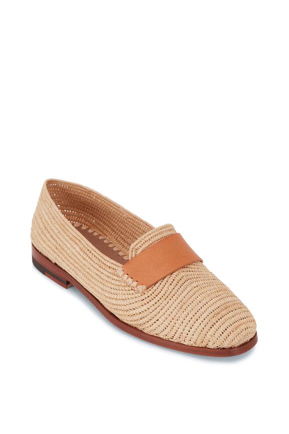 Manolo Blahnik Zagora Natural Raffia Flat Loafer