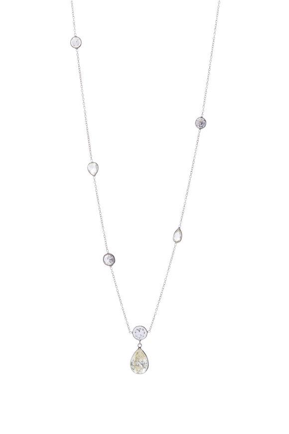 Renee Lewis White Gold Antique Diamond Teardrop Necklace
