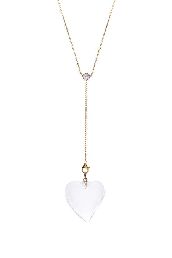 Renee Lewis Yellow Gold Rock Quartz Heart Necklace