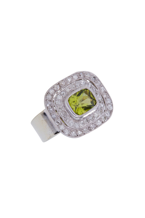 Renee Lewis White Gold Antique Diamond & Peridot Ring