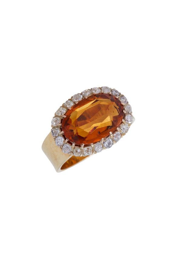 Renee Lewis 18K Yellow Gold Antique Diamond & Citrine Ring