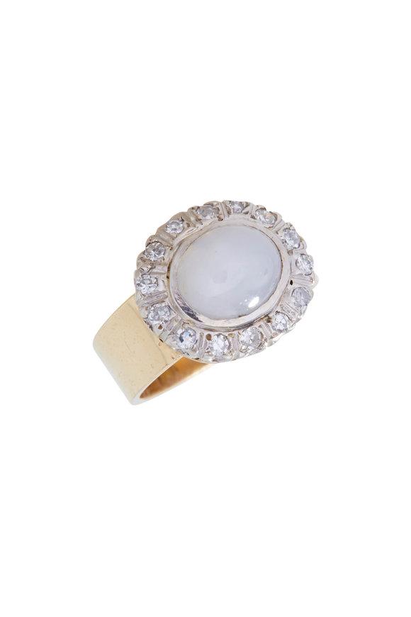 Renee Lewis Yellow & White Gold Diamond & Moonstone Ring