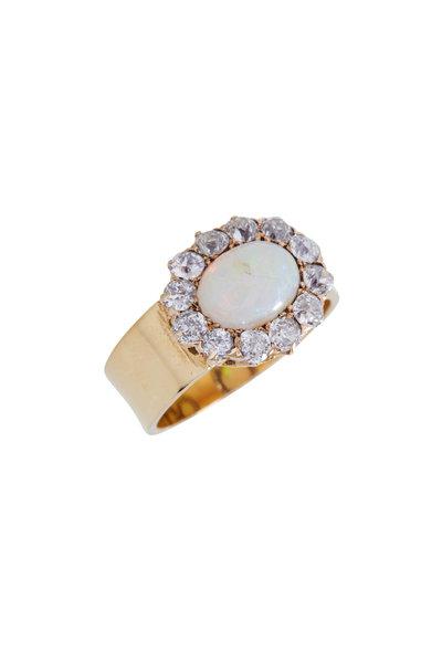 Renee Lewis - Yellow Gold Antique Diamond & Opal Ring