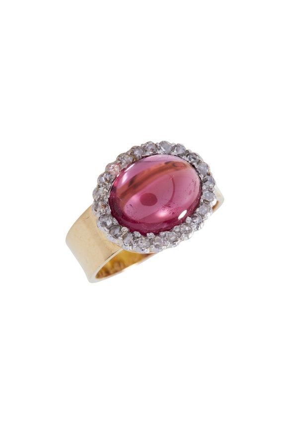 Renee Lewis Yellow Gold Diamond & Pink Tourmaline Ring