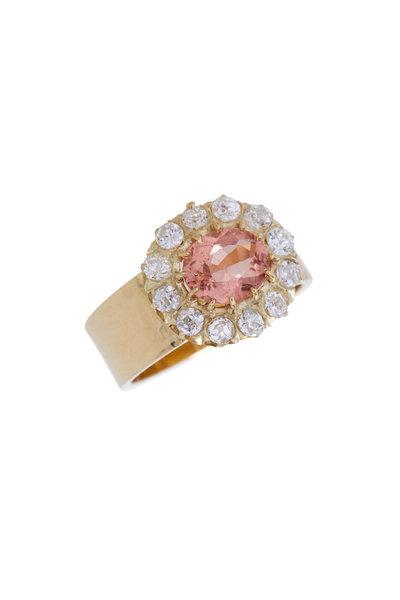 Renee Lewis - Yellow Gold Antique Diamond & Pink Sapphire Ring