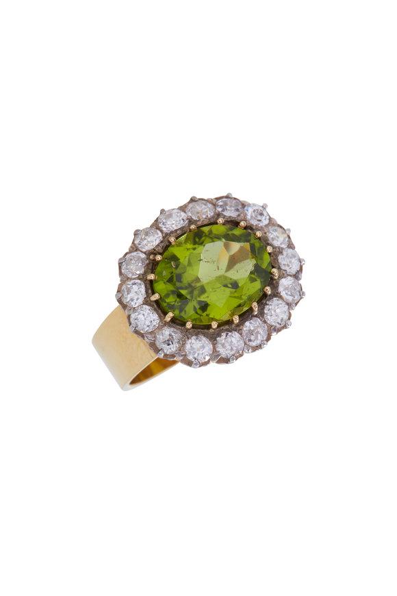 Renee Lewis Yellow & White Gold Diamond & Peridot Ring