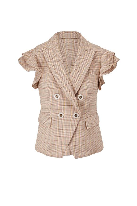 Veronica Beard Janae Khaki Multi Plaid Vest