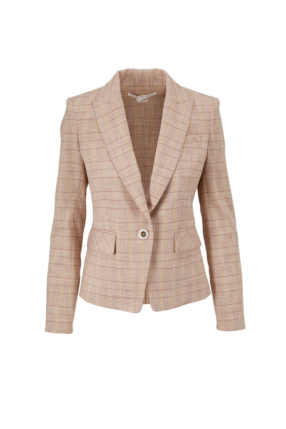 Veronica Beard Louanne Khaki Multi Plaid Jacket