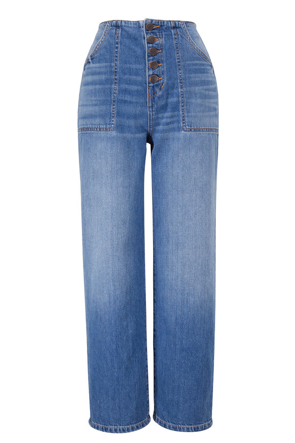 Veronica Beard Crosbie Juno Wide Leg Cropped Jean