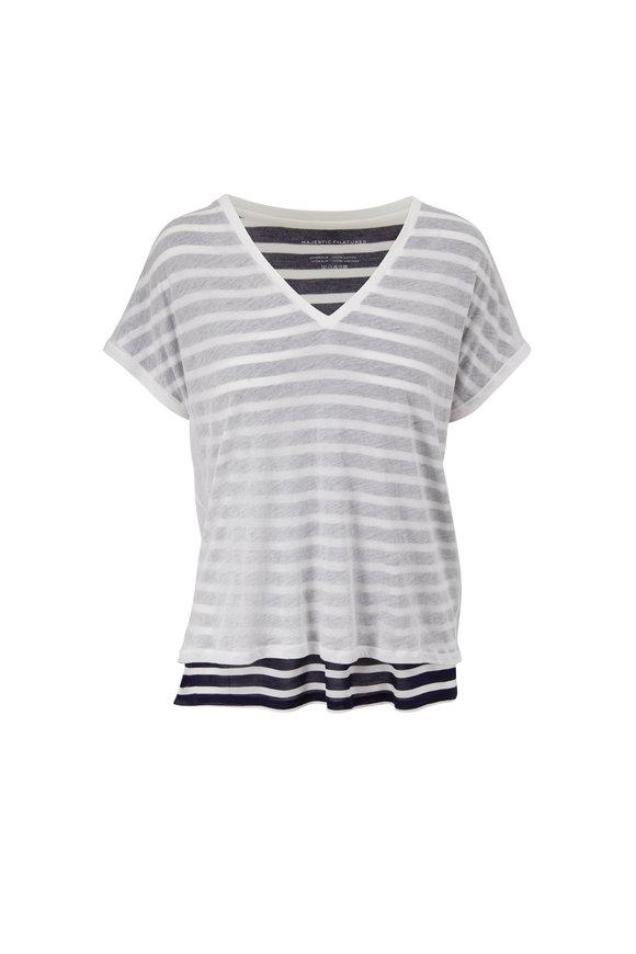 Majestic Marine & White Stripe V-Neck T-Shirt