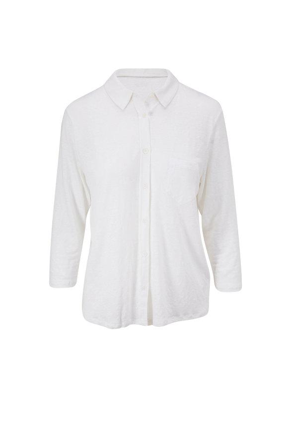 Majestic White Stretch Linen Pocket Button Down