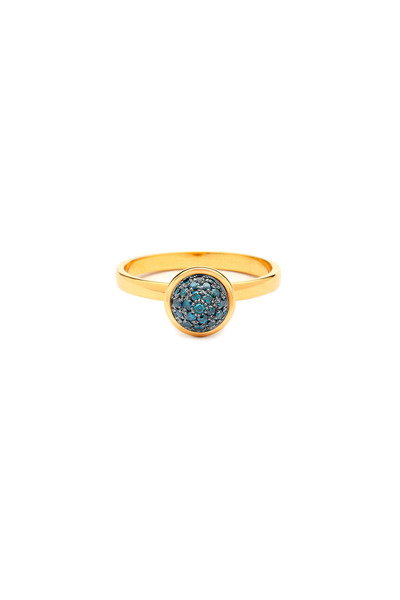 Syna - Baubles Yellow Gold Blue Diamond Stack Ring
