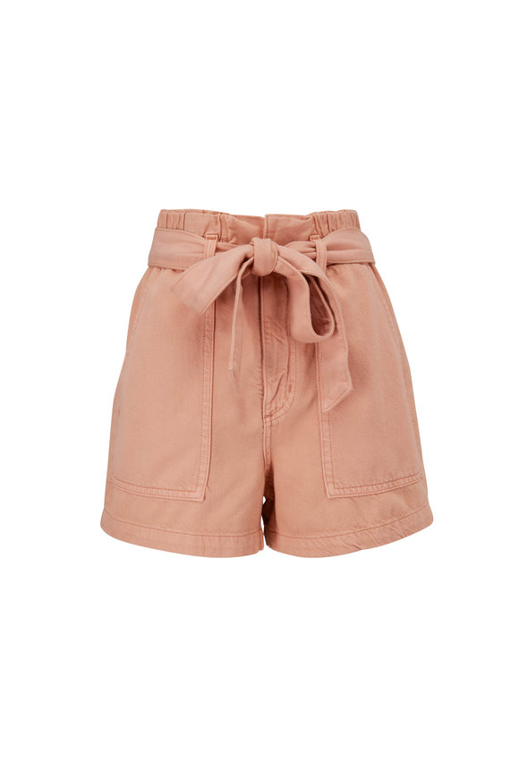 AG Kai Warm Adobe Sulfur Paperbag Waist Shorts