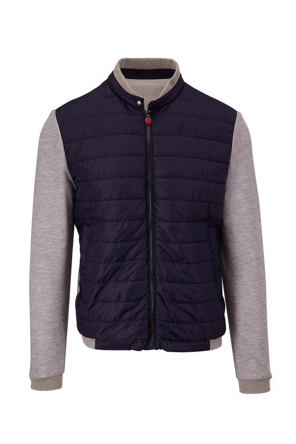 Kiton Navy & Gray Mixed Media Jacket