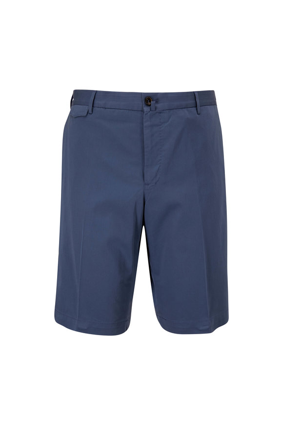 PT Torino Blue Stretch Cotton & Silk Bermuda Shorts