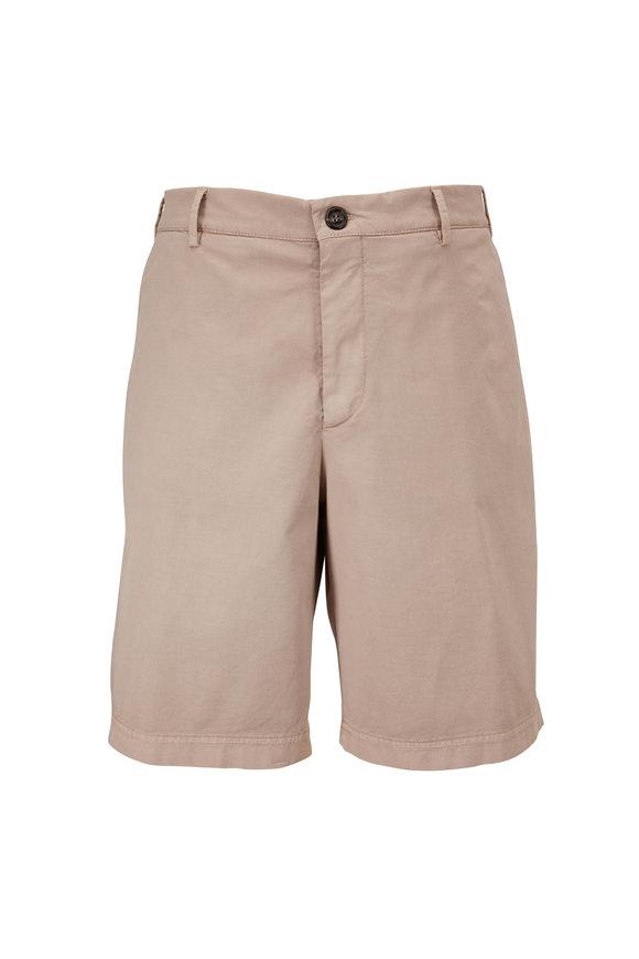 Brunello Cucinelli Taupe Stretch Cotton Shorts