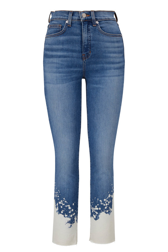 Veronica Beard Carly Lava Stone Bleach Splat Kick Flare Jean