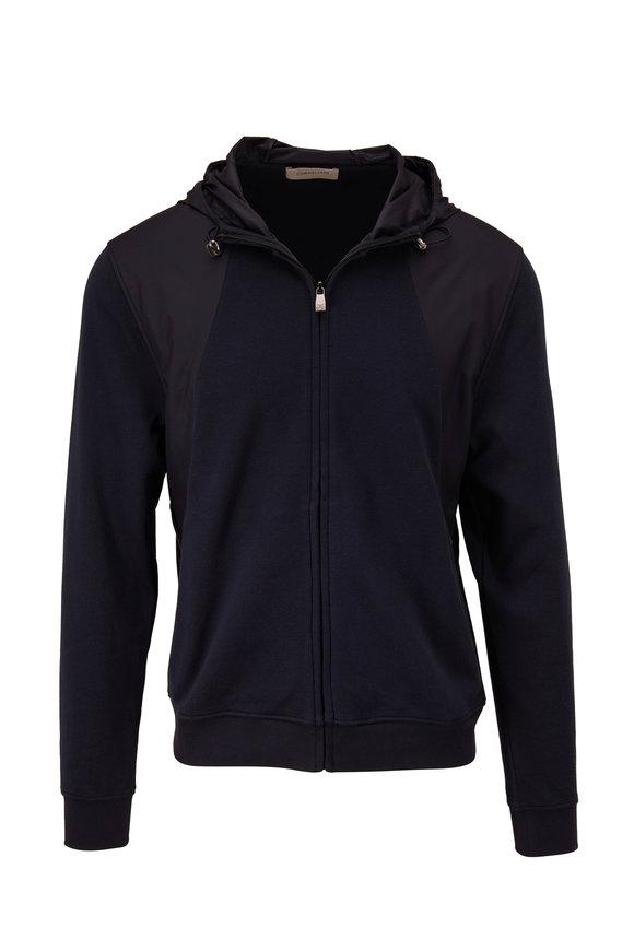 Corneliani Navy Mixed Media Hooded Jacket