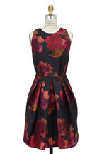Carmen Marc Valvo - Black Floral Brocade Party Dress