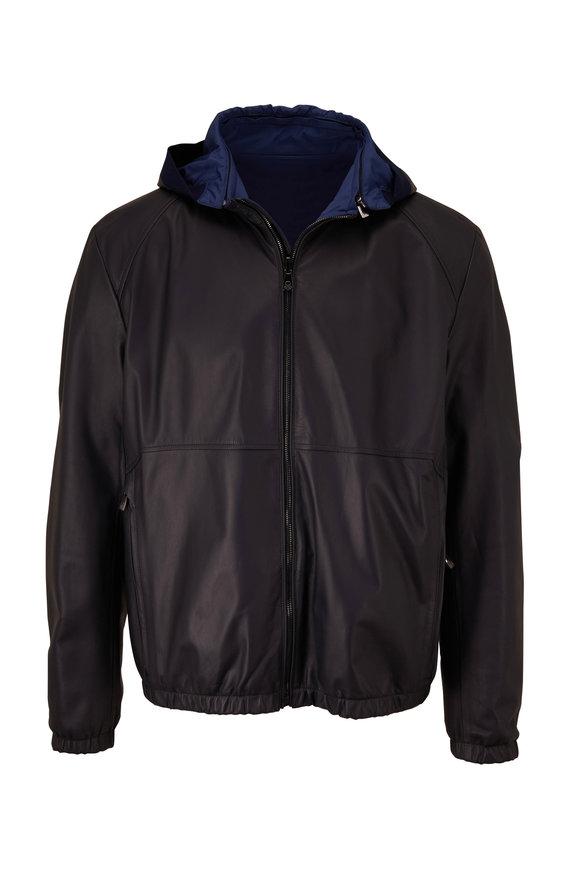 Corneliani Navy Leather Reversible Bomber Jacket