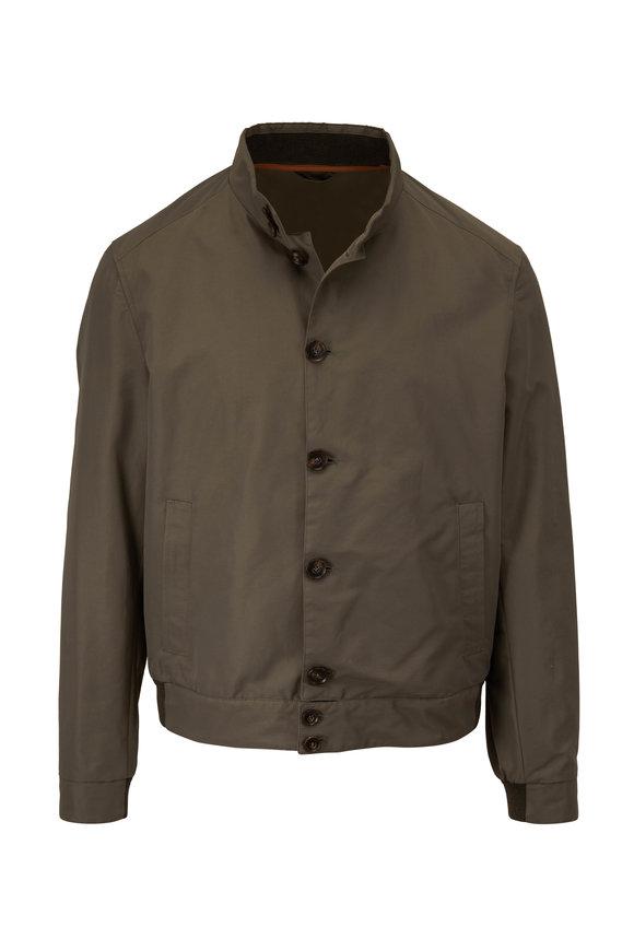Corneliani Olive Water Resistant Bomber Jacket