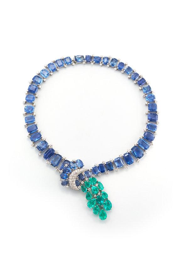 David Webb Platinum Cascade Necklace