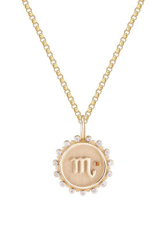 Marlo Laz 14K Yellow Gold Zodiac Coin Scorpio Necklace