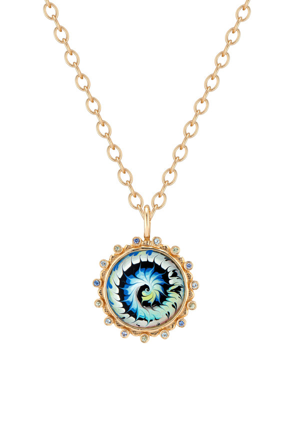Marlo Laz 14K Yellow Gold Large Spiral Tie Dye Necklace