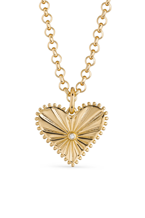 Marlo Laz 14K Yellow Gold Pour Tujour Heart Coin Necklace