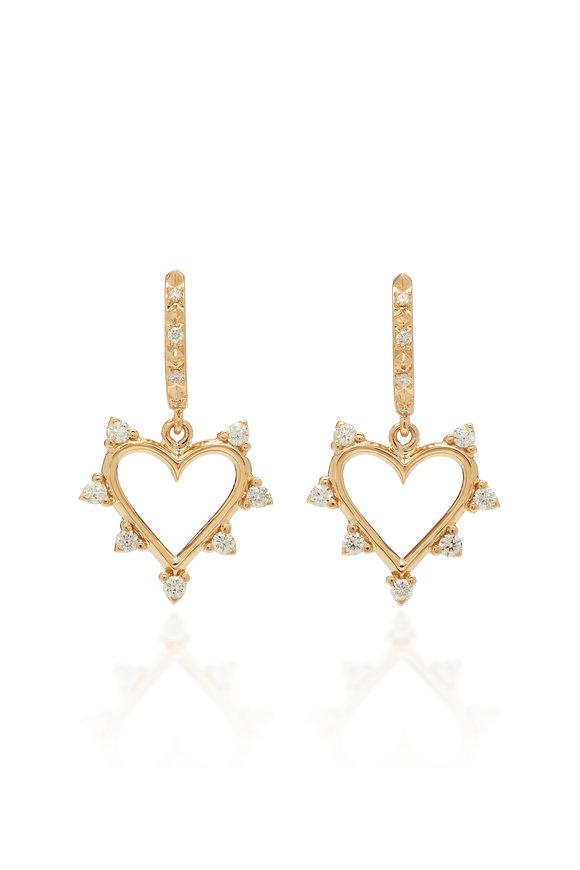 Marlo Laz 14K Yellow Gold Diamond Open Heart Earrings