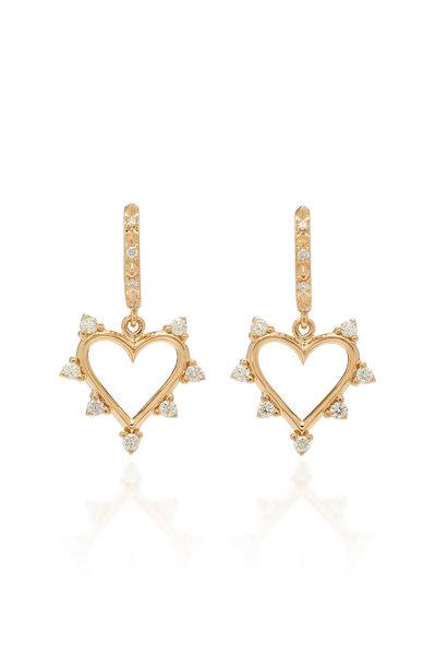 Marlo Laz - 14K Yellow Gold Diamond Open Heart Earrings