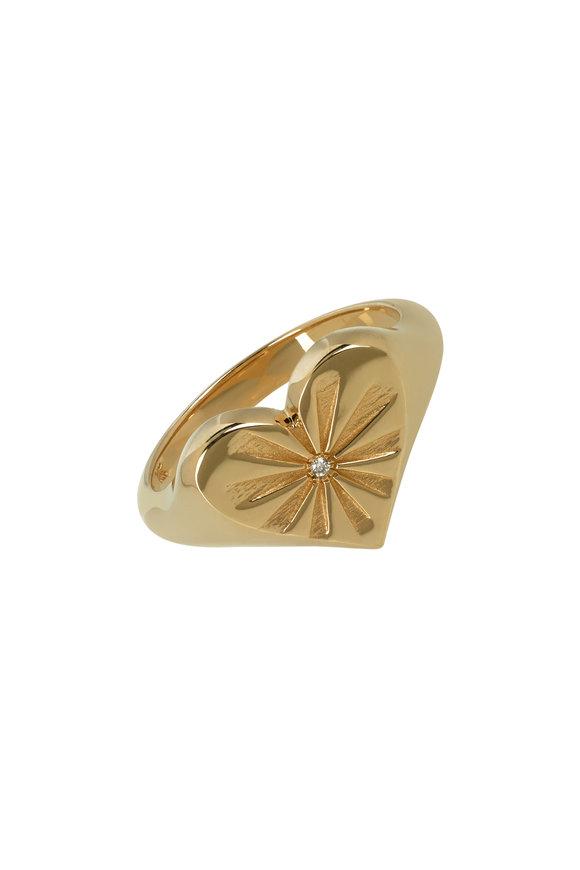 Marlo Laz 14K Yellow Gold Diamond  Heart Pinky Ring