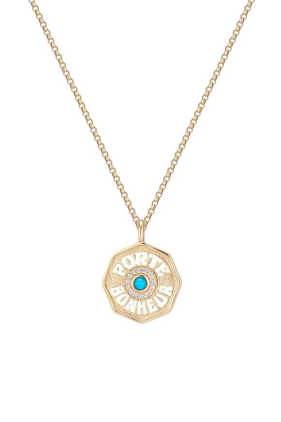 Marlo Laz Yellow Gold Turquoise & Enamel Mini Coin Necklace