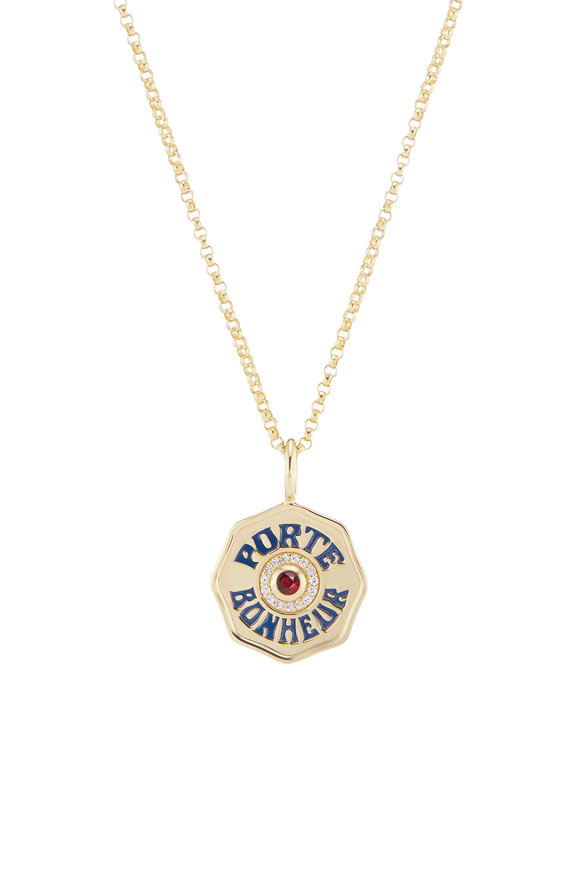 Marlo Laz 14K Yellow Gold Enamel & Ruby Mini Coin Necklace